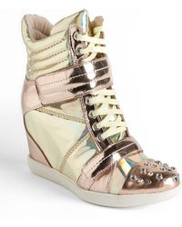 Boutique 9 - Nevan Metallic Leather Wedge Trainers - Lyst