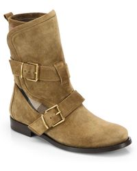 Burberry Worchester Suede Buckle Mid-Calf Boots - Lyst