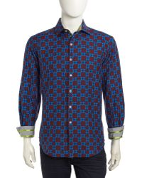 Robert Graham Castello Geometric Check Sport Shirt - Lyst