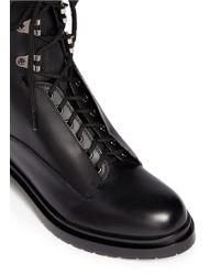 Sergio Rossi Stud Leather Biker Boots - Lyst