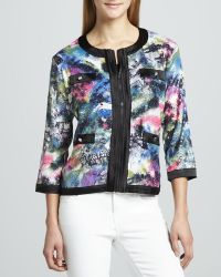 Michael Simon - Sequined Print Zip Jacket Petite - Lyst