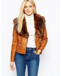 Oasis | Detachable Fur Collar Faux Leather Jacket | Lyst