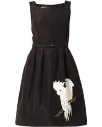 Oscar de la Renta Parrotembellished Silk Dress - Lyst