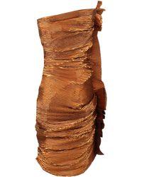 Lanvin Strapless Boned Plisse Dress - Lyst