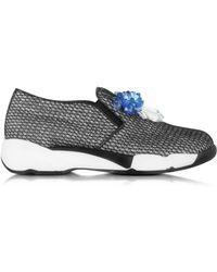 Glisser Sur Chaussures De Sport Pour Les Femmes En Vente, Bleu Nuit, Velours, 2017, 7,5 Pinko