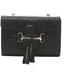 Gucci Black Sima Leather 'Emily' Shoulder Bag - Lyst