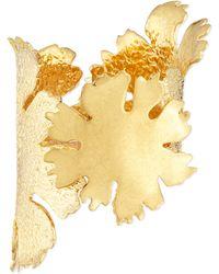 Alexander McQueen Lotus Flower Golden Cuff Bracelet - Lyst