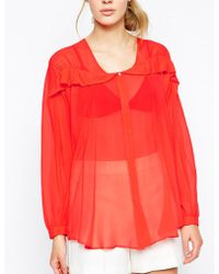 See By Chloé Long Sleeve Shirt With Wave Fabric Detail - Lyst
