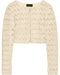 Saloni Cropped Appliquéd Tulle Jacket - Lyst
