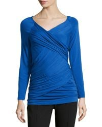 Donna Karan New York Crossover Ruched Jersey Tunic - Lyst