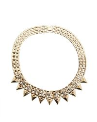 R.j. Graziano - Gold And Crystal Spike Collar Necklace - Lyst