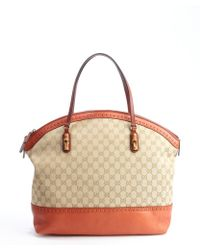 Gucci Sand and Rust Gg Canvas Tote - Lyst