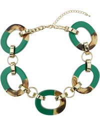 Topshop Green Chunky Link Collar - Lyst
