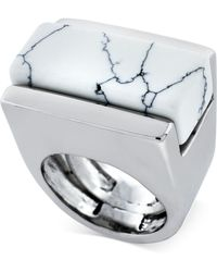 Vince Camuto - Silver Tone Marble Stone Cocktail Ring - Lyst