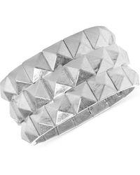 Steve Madden - Silver-Tone Pyramid Stretch Bracelet - Lyst