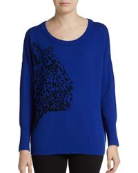 Milly Cheetah Pattern Wool Cashmere Intarsia Sweater - Lyst