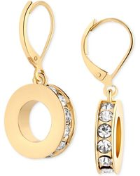 T Tahari Gold-Tone Crystal Donut Drop Earrings - Lyst