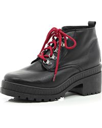 River Island Black Statement Lace Hiker Boots - Lyst