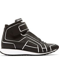 Pierre Hardy Black and White Matte Leather Paneled Sneakers - Lyst