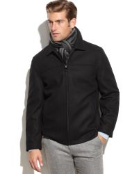 Calvin Klein Solid Woolblend Overcoat with Scarf - Lyst