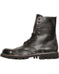 Diesel Vintage Effect Lace-Up Leather Boots black - Lyst