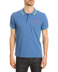 Kenzo Tiger Blue Polo with Embroidered Fluorescent Yellow Trim - Lyst