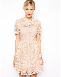 Asos Lace Skater Dress with Herrigbone Tie Back Detail - Lyst