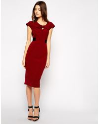 Asos Pencil Dress With Knot Front And Contrast Waist - Lyst