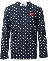 Comme Des Garçons Navy Spotted Long Sleeve T-Shirt - Lyst