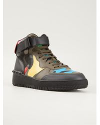 Valentino Camouflage Hi-Top Sneakers - Lyst