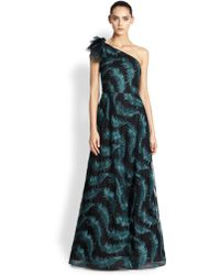 Kay Unger Embroidered Feather One-shoulder Gown - Lyst