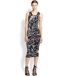 McQ by Alexander McQueen Chalkboard-Print Knit Dress - Lyst