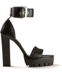 Alexander McQueen Black Leather Sandals - Lyst