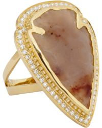 Pamela Love White Jasper, Black Diamond & Rose Gold Arrowhead Ring - Lyst