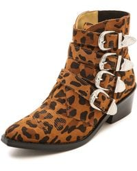 Toga Pulla Buckled Leopard Ankle Boots Leopard - Lyst