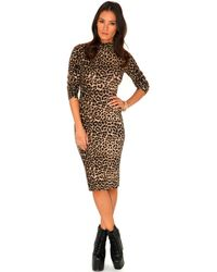 Missguided Rebekah Leopard Print High Neck Dress - Lyst