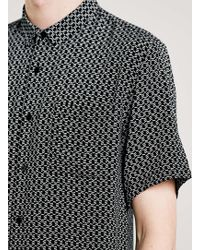 LAC - Bk Printed Drapey Short Sleeve Smart Shirt - Lyst