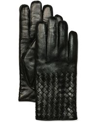 Bottega Veneta Mens Woven Leather Gloves - Lyst