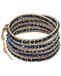 Aeravida - Trendy Black Crystal Nude Leather Five Wrap Bracelet - Lyst
