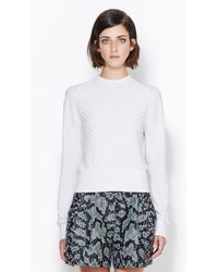 3.1 Phillip Lim Long Sleeve Pullover With Jersey Cast Off Stitch - Lyst