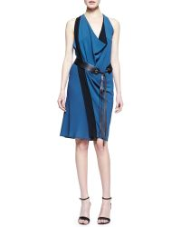 Donna Karan New York Leather-Belted Crepe Scarf Dress - Lyst