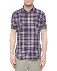 John Varvatos Plaid Short-Sleeve Shirt - Lyst