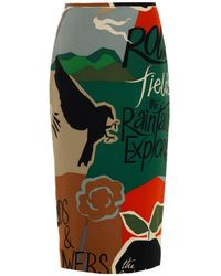 Burberry Prorsum Poet-Print Silk Pencil Skirt - Lyst