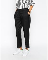 Asos Peg Trouser With Ticking Stripe black - Lyst
