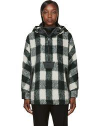 Rag & Bone Green Satin and Wool Falkland Parka Hoodie - Lyst