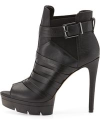 BCBGMAXAZRIA Hesh Leather Open-Toe Platform Bootie - Lyst