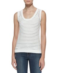 J Brand Womens Shannon Sheer-stripe Sweater Tank - Lyst