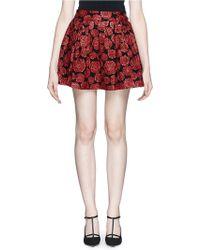 Alice + Olivia Fizer Rose Jacquard Box Pleat Skirt - Lyst