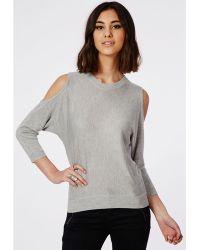 Missguided Fine Knit Cold Shoulder Knitted Jumper Grey - Lyst