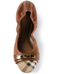 Burberry Elasticated Trim Ballerinas - Lyst
